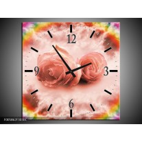 Wandklok op Canvas Roos   Kleur: Roze   F005862C