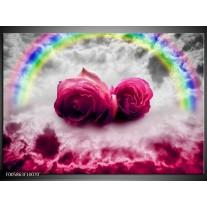 Foto canvas schilderij Roos | Roze, Grijs