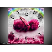 Wandklok op Canvas Roos | Kleur: Roze, Grijs | F005863C