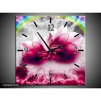 Wandklok op Canvas Lelie | Kleur: Roze, Grijs | F005868C