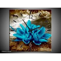 Wandklok op Canvas Lelie | Kleur: Blauw, Grijs | F005872C