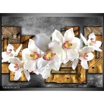 Foto canvas schilderij Orchidee | Grijs, Bruin, Wit