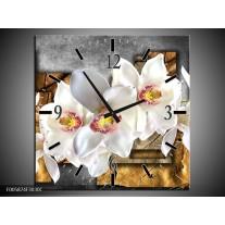 Wandklok op Canvas Orchidee | Kleur: Grijs, Bruin, Wit | F005874C