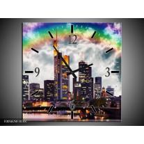 Wandklok op Canvas Wolkenkrabber   Kleur: Grijs, Zwart   F005878C