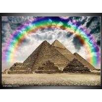 Foto canvas schilderij Piramide   Bruin, Creme