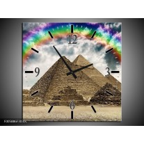 Wandklok op Canvas Piramide   Kleur: Bruin, Creme   F005886C