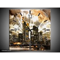 Wandklok op Canvas Wolkenkrabber | Kleur: Bruin, Grijs, Zwart | F005890C