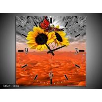 Wandklok op Canvas Zonnebloem | Kleur: Oranje, Grijs, Geel | F005891C