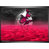 Foto canvas schilderij Vlinder | Roze, Paars, Grijs
