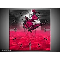 Wandklok op Canvas Vlinder | Kleur: Roze, Paars, Grijs | F005892C