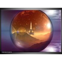 Foto canvas schilderij Eiffeltoren | Paars, Goud, Bruin