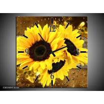Wandklok op Canvas Zonnebloem | Kleur: Geel, Bruin, Grijs | F005909C