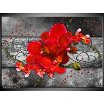 Foto canvas schilderij Orchidee | Rood, Grijs