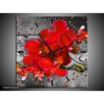Wandklok op Canvas Orchidee | Kleur: Rood, Grijs | F005910C