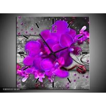 Wandklok op Canvas Orchidee   Kleur: Paars, Grijs   F005911C