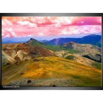 Foto canvas schilderij Bergen | Roze, Blauw, Groen