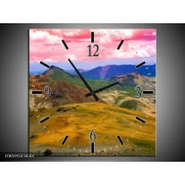 Wandklok op Canvas Bergen | Roze, Blauw, Groen | F005915C