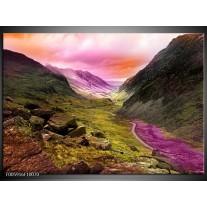 Foto canvas schilderij Bergen | Roze, Paars, Grijs
