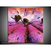 Wandklok op Canvas Landschap | Roze, Oranje, Grijs | F005918C