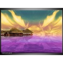 Foto canvas schilderij Uitzicht | Paars, Blauw, Geel