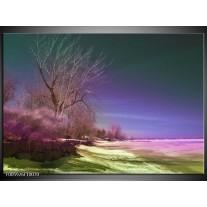 Foto canvas schilderij Landschap   Groen, Blauw, Roze