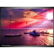 Foto canvas schilderij Water | Paars, Roze, Blauw
