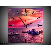 Wandklok op Canvas Water | Paars, Roze, Blauw | F005928C