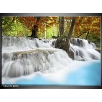 Foto canvas schilderij Waterval | Blauw, Bruin, Grijs