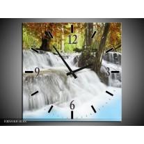 Wandklok op Canvas Waterval | Blauw, Bruin, Grijs | F005930C