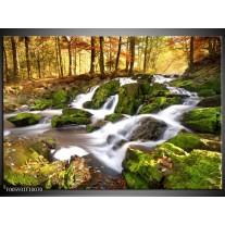 Foto canvas schilderij Waterval | Groen, Grijs, Oranje