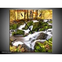 Wandklok op Canvas Waterval | Groen, Grijs, Oranje | F005931C