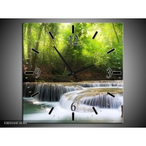 Wandklok op Canvas Waterval | Groen, Blauw, Grijs | F005934C