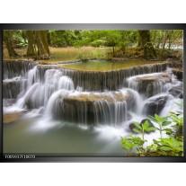 Foto canvas schilderij Waterval | Groen, Grijs, Wit