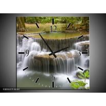 Wandklok op Canvas Waterval | Groen, Grijs, Wit | F005937C