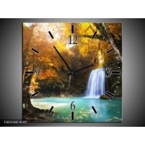 Wandklok op Canvas Waterval | Blauw, Geel, Grijs | F005938C
