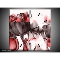 Wandklok op Canvas Tulp | Rood, Wit, Bruin | F005945C