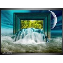 Foto canvas schilderij Waterval | Blauw, Groen, Wit