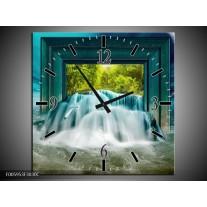 Wandklok op Canvas Waterval | Blauw, Groen, Wit | F005953C
