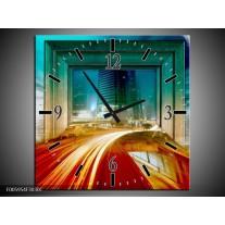 Wandklok op Canvas Gebouw | Rood, Blauw, Groen | F005954C