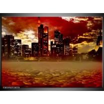 Foto canvas schilderij Stad | Rood, Geel, Grijs