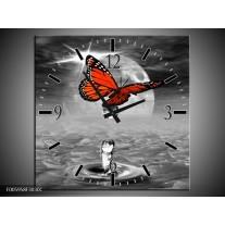 Wandklok op Canvas Vlinder   Rood, Grijs, Wit   F005958C