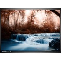Foto canvas schilderij Waterval   Blauw, Bruin, Wit