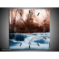 Wandklok op Canvas Waterval   Blauw, Bruin, Wit   F005959C