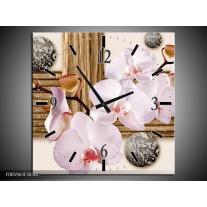 Wandklok op Canvas Orchidee | Roze, Grijs, Bruin | F005963C