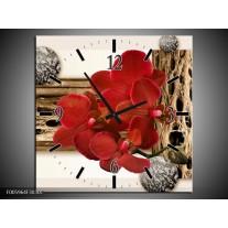 Wandklok op Canvas Orchidee | Rood, Bruin, Wit | F005964C