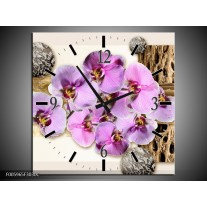 Wandklok op Canvas Orchidee | Roze, Wit, Bruin | F005965C