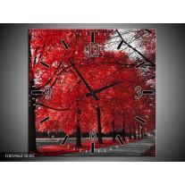 Wandklok op Canvas Bomen | Rood, Grijs, Wit | F005966C
