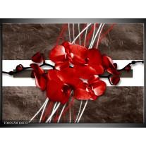 Foto canvas schilderij Orchidee   Rood, Bruin, Wit