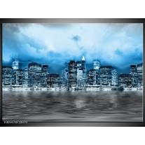 Foto canvas schilderij Stad | Blauw, Grijs, Wit