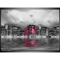 Foto canvas schilderij Stad | Roze, Grijs, Wit